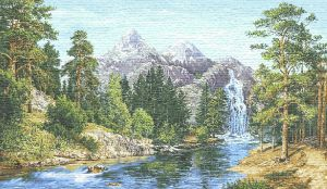 "Tapestry painting ""Altai"" without a frame (panel). The size of the picture 125х70 see"