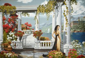 "Tapestry picture of ""the White pergola"" without a frame (panel). The size of the tapestry 100х70 see"
